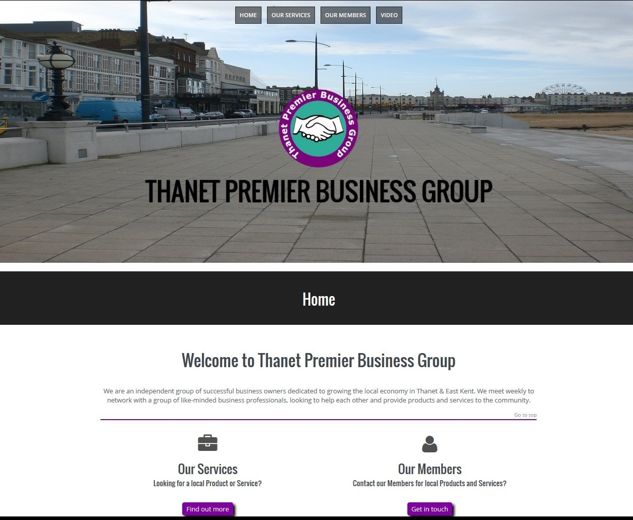 Thanet Premier Business Club Website supplied by Managed Web Services